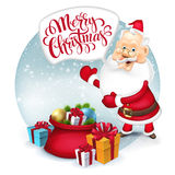 Happy Santa Clause with gift sack. Vector Royalty Free Stock Images