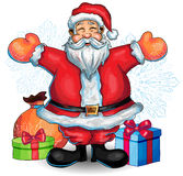 Happy Santa Clause  hand drawn illustration with christmas. Happy Santa Clause  hand drawn illustration with presents Royalty Free Stock Image