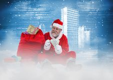 Happy santa counting currency notes 3D Stock Photography