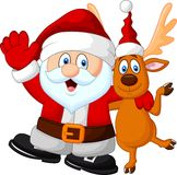 Happy Santa and deer Stock Images