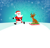 Happy Santa driven in a sleigh reindeer. Cartoon illustration. Royalty Free Stock Image