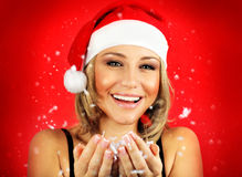 Happy Santa girl Stock Photos