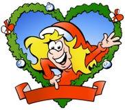 Happy santa girl. Hand-drawn Vector illustration of an happy santa girl Royalty Free Stock Images