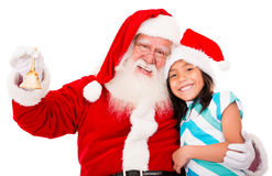Happy Santa with a girl Stock Photo