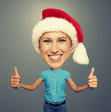 Happy santa girl with big head Stock Image
