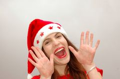 Happy Santa girl calling royalty free stock photography