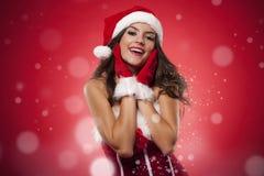 Happy santa girl Stock Image