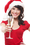 Happy santa girl with glass Stock Photography