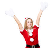 Happy santa girl raise up hand. Isolated over white background Royalty Free Stock Photography