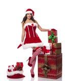 Happy santa girl Royalty Free Stock Photography