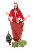 Happy santa and gnome in bag Stock Photo