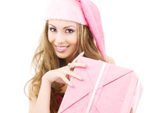 Happy santa helper with gift box Royalty Free Stock Image