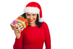 Happy Santa helper holding gift Royalty Free Stock Images