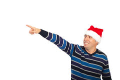 Happy Santa helper  man pointing away Stock Image
