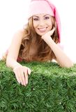 Happy santa helper in pink hat. Over white royalty free stock photos