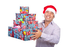Happy Santa helper with presents Royalty Free Stock Images