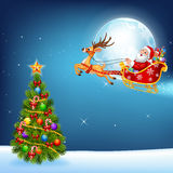 Happy Santa in his Christmas sled being pulled by reindeer royalty free illustration