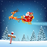 Happy Santa in his Christmas sled being pulled by reindeer. Illustration of Happy Santa in his Christmas sled being pulled by reindeer vector illustration