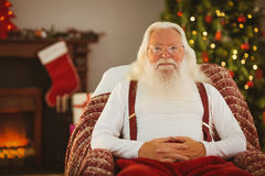 Happy santa without his jacket Royalty Free Stock Photos
