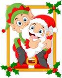 Happy santa hold elf cartoon Royalty Free Stock Image