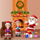 Happy santa and kid bringing gift box in the living room with christmas and new year decoration. Illustration of Happy santa and kid bringing gift box in the Royalty Free Stock Images