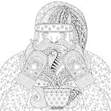 Happy Santa with knitted mittens, cup of tea in zentangle style. Royalty Free Stock Image