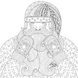 Happy Santa with knitted mittens in zentangle style. Hand drawn Stock Images