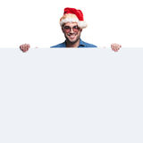 Happy santa man presenting  big blank board Stock Photo