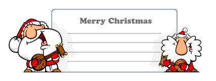 Happy santa musicians - greeting card Stock Photo
