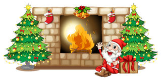 A happy Santa near the fireplace. Illustration of a happy Santa near the fireplace on a white background Stock Photography