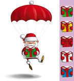 Happy Santa - Parachute Holding a Gifts Royalty Free Stock Image