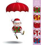 Happy Santa - Parachute Holding a Gifts Royalty Free Stock Photography