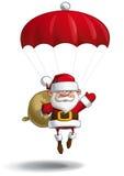 Happy Santa - Parachute Sack of Gifts Royalty Free Stock Images