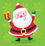 Happy Santa with a Present Stock Images