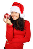 Happy Santa with red Christmas bauble. Smiling santa holding a red christmas bauble Stock Photos