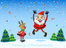A happy Santa with a reindeer Stock Images