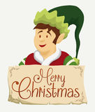 Happy Santa's Elf with Greeting Sign, Vector Illustration Royalty Free Stock Photo