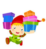 Happy Santa's Elf Runs With Gift Royalty Free Stock Images