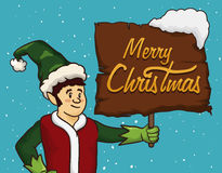 Happy Santa's Elf with Wooden Greeting Sign and Snow Covered, Vector Illustration Royalty Free Stock Images