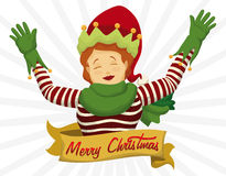 Happy Santa's Helper with Merry Christmas Sign in Ribbon, Vector Illustration Stock Image