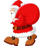 Happy Santa with sack. Illustration of happy Santa with sack Stock Photo