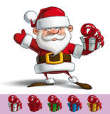 Happy Santa - Salute with a Gifts Royalty Free Stock Photo