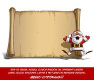 Happy Santa Scroll - Jumping in ecstasy with Open Hands Royalty Free Stock Images