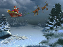 Happy santa with sleigh Stock Photo
