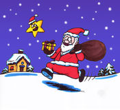 Happy Santa (2006). A happy smiling santa clause running through the snow at night through a snowy winter landscape while a star joins him Royalty Free Illustration