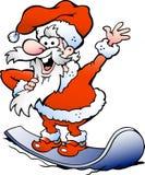 Happy Santa on snowboard. Hand-drawn Vector illustration of an Happy Santa on snowboard Stock Image