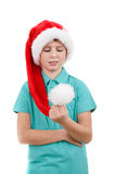 Happy santa teenager Stock Photos