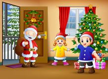 Happy santa and two kids in the living room with christmas tree. Illustration of Happy santa and two kids in the living room with christmas tree vector illustration