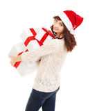 Happy santa woman with gift boxes Stock Photo