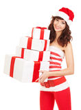 Happy santa woman with gift boxes Royalty Free Stock Photos